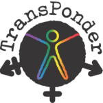 TransPonder logo with a silhouette of a trans symbol and a rainbow stick person in the middle.