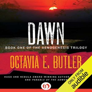 sunrise in the background. audiobook of DAWN by Octavia Butler