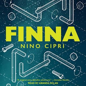cover of finna--blue with yellow lettering and illustrations of pipes in the background