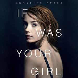 """""""If I Was Your Girl"""" audiobook cover: dark background with a teen girl with red hair in a spaghetti strap top, looking over her shoulder."""
