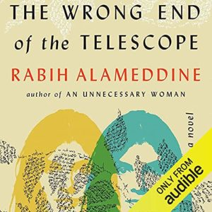 """Background of a map of Greece. In the foreground is the book cover of """"The Wrong End of the Telescope"""" by Rabih Alameddine next to light lettering which sits on top of a dark background. """"TransPonder Book Club October Discussion Book, The Wrong End of the Telescope, Tuesdays @ 5 p.m. PT"""""""