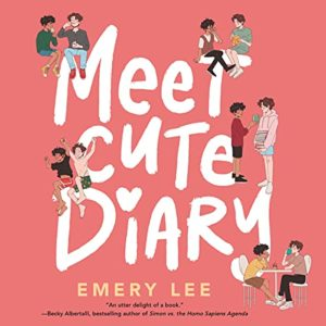 Cover of Meet Cute Diary by Emery Lee. Pink background with illustrations of five couples on a date.