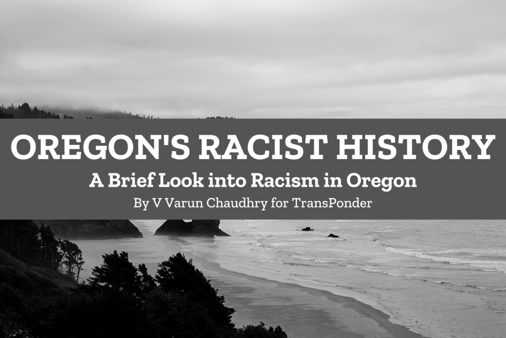 black and white of the oregon coast with campaign logo