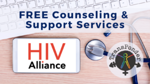 phone, keyboard, and stethoscope with HIV Alliance and TransPonder logos