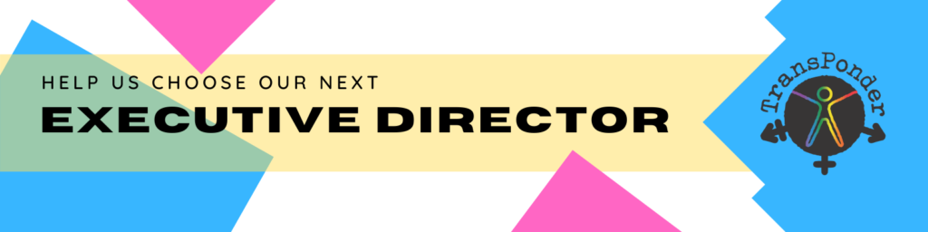 "white background with blue and pink rectangular shapes. Text reads ""help us choose our next Executive Director"""
