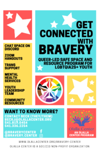 bravery center flyer on primary colors background with white stars.