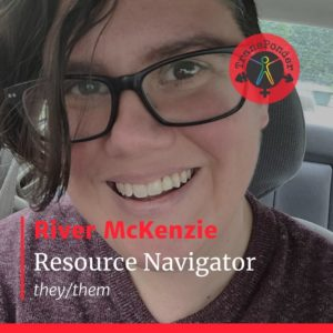 River in a maroon sweater and glasses, smiling. Text reads: River McKenzie, Resource Navigator, they/them