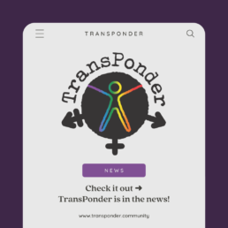 purple background with a white smartphone screen in the foreground. The text reads: Check it out -> TransPonder is in the news!
