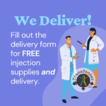 Purple background with two illustrated people in white lab coats and turquoise scrubs holding clipboards. Text reads: Fill out the delivery form for FREE injection supplies and delivery.