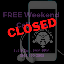 faded background of a smart phone. The red text in the foreground says CLOSED.